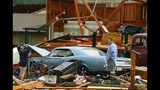 A man and woman inspect the damage to their home and classic cars after being hit by a tornado on Tuesday, May 28, 2019, in a neighborhood south of Lawrence, Kan., near US-59 highway and N. 1000 Road. The past couple of weeks have seen unusually high tornado activity in the U.S., with no immediate end to the pattern in sight. (Chris Neal/The Topeka Capital-Journal via AP)