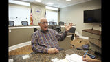 In this May 9 2019, photo, Mayor Jim Yarbrough discusses Galveston's post-storm recovery from Hurricane Ike, in Galveston, Texas. The 2008 storm ravaged much of the island. (AP Photo/John L. Mone)