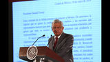 Mexico's President Andrés Manuel López Obrador says Mexico will not respond to U.S. President Donald Trump's threat of coercive tariffs with desperation, but instead push for dialogue, during a press conference at the National Palace, in Mexico City, Friday, May 31, 2019. (AP Photo/Ginnette Riquelme)