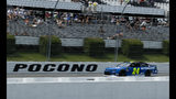 William Byron drives down the front stretch during qualifying for Sunday's NASCAR Cup Series auto race at Pocono Raceway, Saturday, June 1, 2019, in Long Pond, Pa. (AP Photo/Matt Slocum)