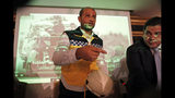 Raed Alsaleh, chairman of the Syrian Civil Defense volunteer rescue group, (White Helmets) gestures following a media conference in Istanbul, Friday, May 31, 2019. The group and an alliance of non-governmental organisations have gathered in Istanbul to call attention to an escalation of violence in Idlib province in northwestern Syria.Salah said a catastrophic humanitarian crisis is imminent and the Syrian NGO Alliance appealed to the United Nations Security Council to stop the escalation. (AP Photo/Lefteris Pitarakis)