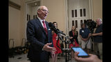 Rep. John Rose, R-Tenn., a freshman from Cookeville, Tenn., speaks to reporters at the Capitol after he blocked a unanimous consent vote during a scheduled pro forma session of the House on a long-awaited $19 billion disaster aid bill in the chamber, Thursday, May 30, 2019. Rep. Thomas Massie, R-Ky., and freshman Rep. Chip Roy, R-Texas, have both blocked passage of the measure in the past week. (AP Photo/J. Scott Applewhite)