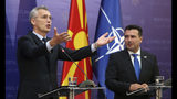 NATO Secretary General Jens Stoltenberg, left, talks for the media during a news conference with North Macedonia Prime Minister Zoran Zaev, right, following their meeting with 29 ambassadors of top Alliance body (North Atlantic Council) in Skopje, North Macedonia, Monday, June 3, 2019. NATO Secretary-General Jens Stoltenberg has arrived for a two-day visit to North Macedonia before this tiny Balkan country officially becomes the alliance's 30th member by the end of the year. (AP Photo/Boris Grdanoski)