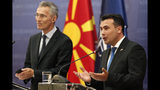 Prime Minister of North Macedonia Zoran Zaev, right, talks for the media during a news conference with NATO Secretary General Jens Stoltenberg, left, following their meeting with 29 ambassadors of top Alliance body (North Atlantic Council) in Skopje, North Macedonia, Monday, June 3, 2019. NATO Secretary-General Jens Stoltenberg has arrived for a two-day visit to North Macedonia before this tiny Balkan country officially becomes the alliance's 30th member by the end of the year. (AP Photo/Boris Grdanoski)