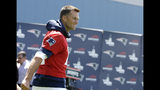 New England Patriots quarterback Tom Brady steps on the field for an NFL football minicamp practice, Tuesday, June 4, 2019, in Foxborough, Mass. (AP Photo/Steven Senne)