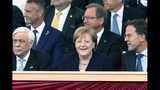 Chancellor of Germany, Angela Merkel attends the D-day 75 Commemorations Wednesday June 5, 2019, in Portsmouth, England. Commemoration events are marking the 75th Anniversary of the D-Day landings when Allied forces stormed the beaches of Normandy in northern France during World War II. (Chris Jackson/Pool via AP)