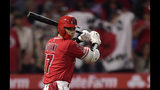 Los Angeles Angels' Shohei Ohtani, of Japan, warms up before batting in the fourth inning of the team's baseball game against the Seattle Mariners on Saturday, June 8, 2019, in Anaheim, Calif. (AP Photo/Mark J. Terrill)