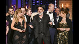 """Jez Butterworth, and the company of """"The Ferryman,"""" accept the award for best play at the 73rd annual Tony Awards at Radio City Music Hall on Sunday, June 9, 2019, in New York. (Photo by Charles Sykes/Invision/AP)"""