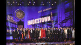 """The company of """"Hadestown,"""" accept the award for best musical at the 73rd annual Tony Awards at Radio City Music Hall on Sunday, June 9, 2019, in New York. (Photo by Charles Sykes/Invision/AP)"""
