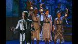 """Andre De Shields , left, of the cast of """"Hadestown"""" perform at the 73rd annual Tony Awards at Radio City Music Hall on Sunday, June 9, 2019, in New York. (Photo by Charles Sykes/Invision/AP)"""