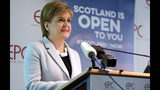 Scotland's First Minister Nicola Sturgeon speaks during an event in Brussels Tuesday, June 11, 2019. Scottish First Minister Nicola Sturgeon is in Brussels Tuesday to meet with European Union chief Brexit negotiator Michel Barnier and European Commission President Jean-Claude Juncker. (AP Photo/Virginia Mayo)