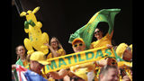 Australia's fans cheer for their team prior the start of the Women's World Cup Group C soccer match between Australia and Italy at the Stade du Hainaut in Valenciennes, Sunday, June 9, 2019. (AP Photo/Francisco Seco)