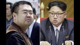 "FILE - This combination of file photos shows Kim Jong Nam, left, exiled half-brother of North Korea's leader Kim Jong Un, in Narita, Japan, on May 4, 2001, and North Korean leader Kim Jong Un on May 9, 2016, in Pyongyang, North Korea. A U.S. media report says the slain half brother of North Korean leader Kim Jong Un had been a source for the Central Intelligence Agency and traveled to Malaysia to meet his CIA contact before his assassination in Kuala Lumpur International Airport in February 2017. The Wall Street Journal on Monday, June 9, 2019, attributed the report to an unidentified ""person knowledgeable about the matter,"" who said there was a ""nexus"" between Kim Jong Nam and the U.S. spy agency.(AP Photos/Shizuo Kambayashi, Wong Maye-E, File)"