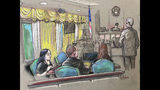 FILE - In this April 15, 2019, file court sketch, Yujing Zhang, left, a Chinese woman charged with lying to illegally enter President Donald Trump's Mar-a-Lago club, listens to a hearing before Magistrate Judge William Matthewman in West Palm Beach, Fla. Zhang's request to fire her public defenders and represent herself is scheduled to be heard Tuesday, June 11 by U.S. District Judge Roy Altman in Fort Lauderdale, Fla. (Daniel Pontet via AP, File)