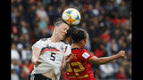 Germany's Marina Hegering, left, goes for a header with Spain's Nahikari Garcia during the Women's World Cup Group B soccer match between Spain and Germany at Stade du Hainau in Valenciennes, France, Wednesday, June 12, 2019. (AP Photo/Michel Spingler)