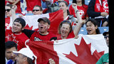 Canadian fans wait for the start of the Women's World Cup Group E soccer match between Canada and Cameroon in Montpellier, France, Monday, June 10, 2019. (AP Photo/Claude Paris)