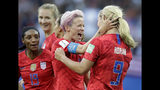 United States' scorer Lindsey Horan, right, celebrates their side's 3rd goal with Megan Rapinoe during the Women's World Cup Group F soccer match between United States and Thailand at the Stade Auguste-Delaune in Reims, France, Tuesday, June 11, 2019. (AP Photo/Alessandra Tarantino)