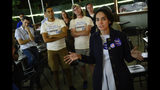 Yasmine Taeb speaks at an election night party after making a call to Senate Minority Leader Dick Saslaw, while at Zaaki Restaurant and Hookah Bar in Falls Church, Va., Tuesday, June 11. 2019. Saslaw, who did not face a primary challenger for 40 years, won the race. (Sarah L. Voisin/The Washington Post via AP)