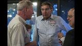 Virginia 24th District Sen. Emmett Hanger, R-Mount Solon, speaks with Virginia 25th District delegate Steve Landes during an election night party at The Depot Grille in Staunton, Va., Tuesday, June 11, 2019. Hanger won the primary election against challenger Tina Freitas. (Daniel Lin/Daily News-Record via AP)