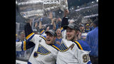 St. Louis Blues' Ivan Barbashev, left, and Vladimir Tarasenko, both of Russia, hold the Stanley Cup as fans in the stands celebrate after the Blues defeated the Boston Bruins in Game 7 of the NHL Stanley Cup Final, Wednesday, June 12, 2019, in Boston. (AP Photo/Michael Dwyer)