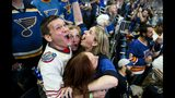 Bill Kess, left, and his friends react as the clock hits zero and the St. Louis Blues win the Stanley Cup over the Boston Bruins in Boston, during a watch party Wednesday, June 12, 2019, at Enterprise Center in St. Louis. (Colter Peterson/St. Louis Post-Dispatch via AP)