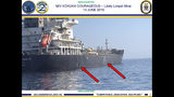 This June 13, 2019, image released by the U.S. military's Central Command, shows damage and a suspected mine on the Kokuka Courageous in the Gulf of Oman near the coast of Iran. The U.S. military on Friday, June 14, 2019, released a video it said showed Iran's Revolutionary Guard removing an unexploded limpet mine from one of the oil tankers targeted near the Strait of Hormuz, suggesting the Islamic Republic sought to remove evidence of its involvement from the scene. (U.S. Central Command via AP)