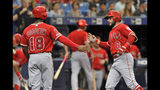 Los Angeles Angels' Brian Goodwin (18) celebrates with David Fletcher (6) after Fletcher's two-run home run off Tampa Bay Rays starter Charlie Morton during the second inning of a baseball game Saturday, June 15, 2019, in St. Petersburg, Fla. (AP Photo/Steve Nesius)