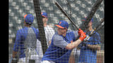 New York Mets 2019 first round pick Brett Baty, a third baseman from Lake Travis High School in Austin, Texas, who was drafted 12th overall, takes batting practice prior to a baseball game against the St. Louis Cardinals, Saturday, June 15, 2019, in New York. (AP Photo/Julio Cortez)