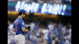 Chicago Cubs starting pitcher Yu Darvish waits after giving up a solo home run to Los Angeles Dodgers' Alex Verdugo during the fourth inning of a baseball game in Los Angeles, Saturday, June 15, 2019. (AP Photo/Alex Gallardo)