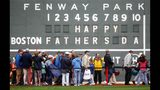 FILE - In this June 21, 2009 file photo, fans tour in front of the scoreboard in Fenway Park in Boston in celebration of Father's Day following a baseball game between the Atlanta Braves and the Boston Red Sox. The U.S. Census Bureau has released a new report showing more than 60% of the 121 million men in the U.S. are fathers. The data in the report released this week of June 15, 2019, comes from 2014 when the bureau for the first time asked both men and women about their fertility histories. The report says just under three-quarters of fathers are married. Almost 13% of dads are divorced and 8% have never been married. (AP Photo/Michael Dwyer)