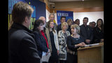 FILE - In this Feb. 1, 2019, file photo, New Mexico Gov. Michelle Lujan Grisham, center, holds a news conference about film incentives with Sen. Nancy Rodriguez, D-Santa Fe, second from left, and others in Santa Fe, N.M. New Mexico's film industry appears to be on the brink of a boom thanks to abortion law controversies in other states and expanded incentives. The Albuquerque Journal reports a recent rise in film productions in the state as Hollywood targets Georgia and Louisiana over recently passed restrictive abortion laws. (Eddie Moore/The Albuquerque Journal via AP, File)
