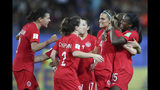 Canada's Nichelle Prince, right, celebrates with her teammates after scoring her side's second goal during the Women's World Cup Group E soccer match between Canada and New Zealand in Grenoble, France, Saturday, June 15, 2019. (AP Photo/Francisco Seco)