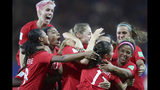Canada's Jessie Fleming celebrates with her teammates after scoring her side's opening goal during the Women's World Cup Group E soccer match between Canada and New Zealand in Grenoble, France, Saturday, June 15, 2019. (AP Photo/Francisco Seco)