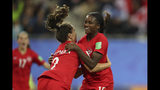 Canada's Nichelle Prince, right, celebrates with Canada's Allysha Chapman after scoring her side's second goal during the Women's World Cup Group E soccer match between Canada and New Zealand in Grenoble, France, Saturday, June 15, 2019. (AP Photo/Francisco Seco)