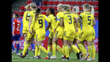 Sweden's Madelen Janogy, 4th left with red hairband, celebrates after scoring her side's 2nd goal during the Women's World Cup Group F soccer match between Chile and Sweden at the Roazhon Park in Rennes, France, Tuesday, June 11, 2019. (AP Photo/David Vincent)