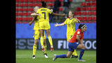 Sweden's Madelen Janogy, 2nd left, celebrates after scoring her side's 2nd goal during the Women's World Cup Group F soccer match between Chile and Sweden at the Roazhon Park in Rennes, France, Tuesday, June 11, 2019. (AP Photo/David Vincent)