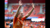 Netherlands' Sherida Spitse celebrates after the Women's World Cup Group E soccer match between the Netherlands and Cameroon at the Stade du Hainaut in Valenciennes, France, Saturday, June 15, 2019. The Netherlands defeated Cameroon by 3-1. (AP Photo/Michel Spingler)