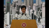 Hong Kong's Chief Executive Carrie Lam attends a press conference, Saturday, June 15, 2019, in Hong Kong. Lam said she will suspend a proposed extradition bill indefinitely in response to widespread public unhappiness over the measure, which would enable authorities to send some suspects to stand trial in mainland courts. (AP Photo/Kin Cheung)