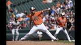 Baltimore Orioles pitcher Dylan Bundy throws against the Boston Red Sox in the first inning of a baseball game Saturday, June 15, 2019, in Baltimore. (AP Photo/Gail Burton)