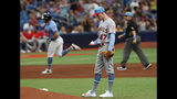 Los Angeles Angels pitcher Griffin Canning gives up a home run to Tampa Bay Rays Tommy Pham, behind left, during the fifth inning of a baseball game Sunday, June 16, 2019, in St. Petersburg, Fla. (AP Photo/Scott Audette)