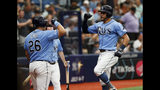 Tampa Bay Rays' Tommy Pham, right, celebrates with teammate Ji-Man Choi after hitting a home run against the Los Angeles Angels during the fifth inning of a baseball game Sunday, June 16, 2019, in St. Petersburg, Fla. (AP Photo/Scott Audette)