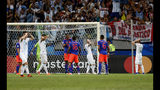 Argentina's soccer players react after missing a chance to score during a Copa America Group B soccer match against Colombia at the Arena Fonte Nova in Salvador, Brazil, Saturday, June 15, 2019. (AP Photo/Natacha Pisarenko)