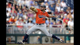 Auburn pitcher Jack Owen works against Mississippi State in the first inning of an NCAA College World Series baseball game in Omaha, Neb., Sunday, June 16, 2019. (AP Photo/Nati Harnik)