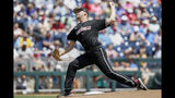 Louisville starting pitcher Reid Detmers delivers against Vanderbilt in the first inning of an NCAA College World Series baseball game in Omaha, Neb., Sunday, June 16, 2019. (AP Photo/Nati Harnik)