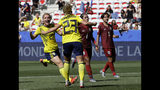 Sweden's Mimmi Larsson, left, and Sweden's scorer Elin Rubensson celebrate their side's fifth goal during the Women's World Cup Group F soccer match between Sweden and Thailand at the Stade de Nice in Nice, France, Sunday, June 16, 2019. (AP Photo/Claude Paris)