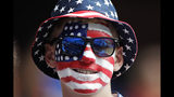Austin Chambers, from Philadelphia, waits on the stand for the start of the Women's World Cup Group F soccer match between United States and Chile at Parc des Princes in Paris, France, Sunday, June 16, 2019. (AP Photo/Alessandra Tarantino)