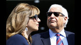 United States Ambassador to Israel David Friedman and his wife Tammy attend the inauguration of a new settlement named after US president Donald Trump in the Golan Heights, Sunday, June 16, 2019. The Trump name graces apartment towers, hotels and golf courses. Now it is the namesake of a tiny Jewish settlement in the Israeli-controlled Golan Heights. (AP Photo/Ariel Schalit)