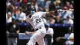 Colorado Rockies' Ian Desmond follows the flight of his RBI-double off San Diego Padres starting pitcher Nick Margevicius in the first inning of a baseball game Sunday, June 16, 2019, in Denver. (AP Photo/David Zalubowski)