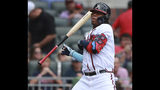 Atlanta Braves' Ronald Acuna Jr. is hit by a pitch from Philadelphia Phillies' Vince Velasquez during the first inning of a baseball game Sunday, June 16, 2019, in Atlanta. Acuna was awarded first base. (Curtis Compton/Atlanta Journal-Constitution via AP)