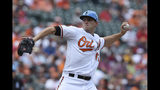 Baltimore Orioles pitcher John Means delivers against the Boston Red Sox in the first inning of a baseball game Sunday, June 16, 2019, in Baltimore. (AP Photo/Gail Burton)